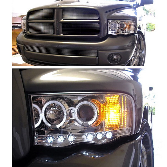 2002-2005 Dodge Ram 1500 2500 3500 Chrome Housing LED Halo Angel Eyes LED Projector Headlights