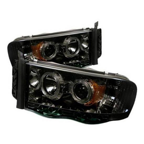 2002-2005 Dodge Ram 1500 2500 3500 Smoke Housing LED Halo Angel Eyes LED Projector Headlights