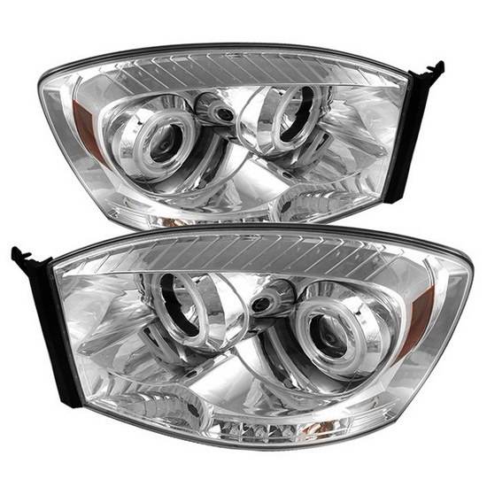 2006-2008 Dodge Ram 1500 2500 3500 Chrome Housing CCFL Halo Angel Eyes LED Projector Headlights