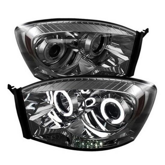 2006 08 dodge ram 1500 smoke ccfl halo led projector. Black Bedroom Furniture Sets. Home Design Ideas