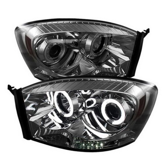2006-2008 Dodge Ram 1500 2500 3500 Smoke Housing CCFL Halo Angel Eyes LED Projector Headlights