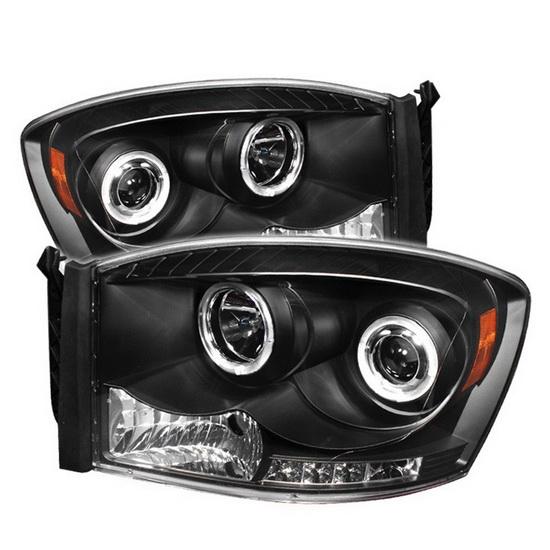 2006-2008 Dodge Ram 1500 2500 3500 Black Housing LED Halo Angel Eyes LED Projector Headlights