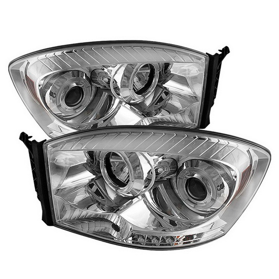 2006-2008 Dodge Ram 1500 2500 3500 Chrome Housing LED Halo Angel Eyes LED Projector Headlights