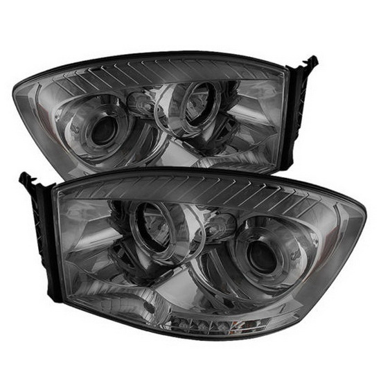 2006-2008 Dodge Ram 1500 2500 3500 Smoke Housing LED Halo Angel Eyes LED Projector Headlights