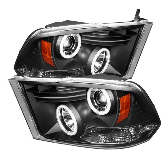 2009-2014 Dodge Ram 1500 2500 3500 Black Housing CCFL Halo Angel Eyes LED Projector Headlights