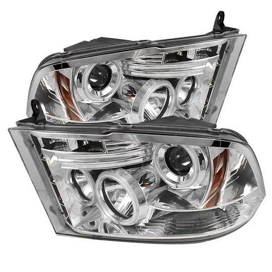 2009-2014 Dodge Ram 1500 2500 3500 Chrome Housing CCFL Halo Angel Eyes LED Projector Headlights