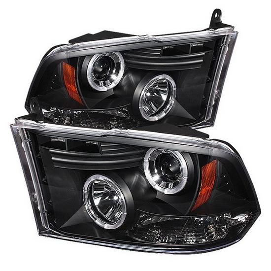 2009-2014 Dodge Ram 1500 2500 3500 Black Housing CCFL Halo Angel Eyes LED Projector Headlights