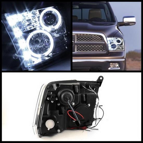 09 14 Dodge Ram 1500 Chrome Ccfl Halo Led Projector Headlights