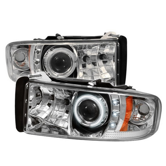 1994-2001 Dodge Ram 1500 2500 3500 Chrome Housing CCFL Halo Angel Eyes LED Projector Headlights