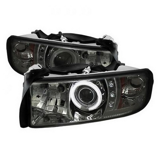 1994-2001 Dodge Ram 1500 2500 3500 Smoke Housing CCFL Halo Angel Eyes LED Projector Headlights