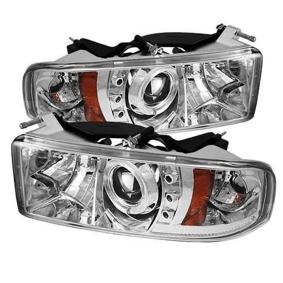 1994-2001 Dodge Ram 1500 2500 3500 Chrome Housing LED Halo Angel Eyes LED Projector Headlights