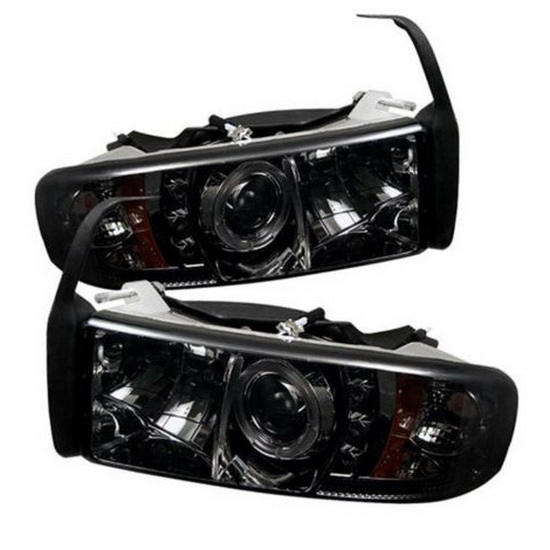 1994-2001 Dodge Ram 1500 2500 3500 Smoke Housing LED Halo Angel Eyes LED Projector Headlights