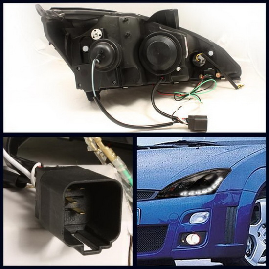 2000-2004 Ford Focus Black Housing Projector Headlights with LED DRL