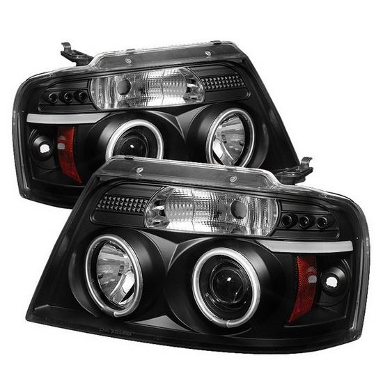2004-2008 Ford F150 Black Housing V2 Upgraded CCFL Halo Angel Eyes LED Projector Headlights