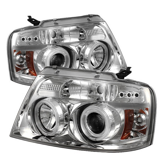 2004-2008 Ford F150 Chrome Housing V2 Upgraded CCFL Halo Angel Eyes LED Projector Headlights