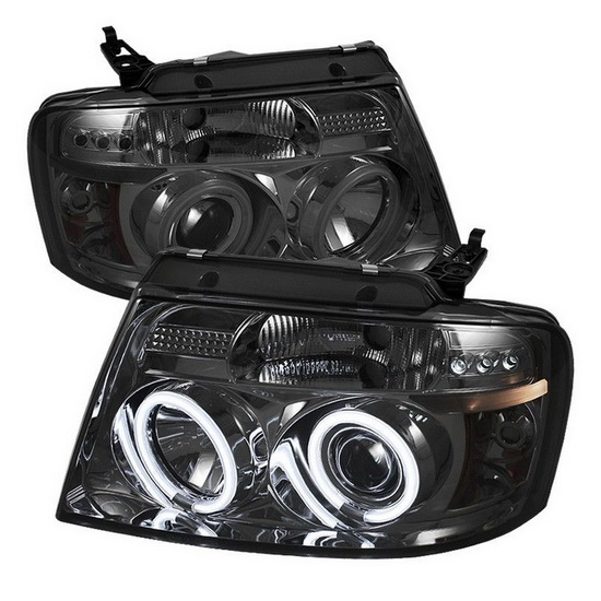 2004-2008 Ford F150 Smoke Housing V2 Upgraded CCFL Halo Angel Eyes LED Projector Headlights