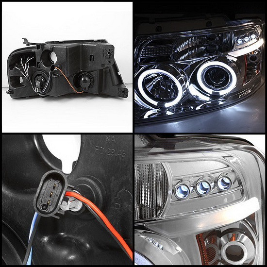 2004-2008 Ford F150 Chrome Housing V2 Upgraded LED Halo Angel Eyes LED Projector Headlights