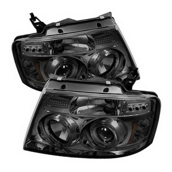 2004-2008 Ford F150 Smoke Housing V2 Upgraded LED Halo Angel Eyes LED Projector Headlights