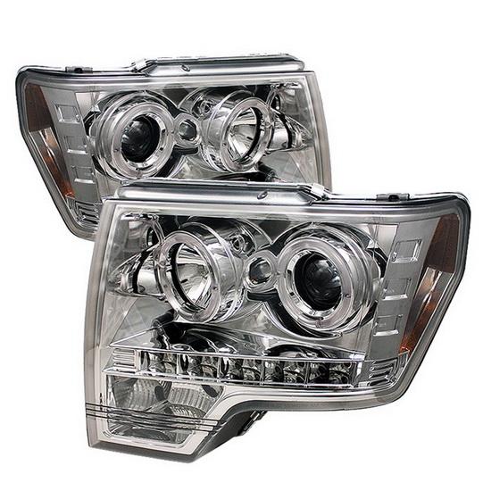 2009-2013 Ford F150 Chrome Housing LED Halo Angel Eyes LED Projector Headlights