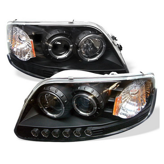 1997-2003 Ford F150 Expedition Black Housing LED Halo Angel Eyes LED 1PC Projector Headlights with Amber Reflector