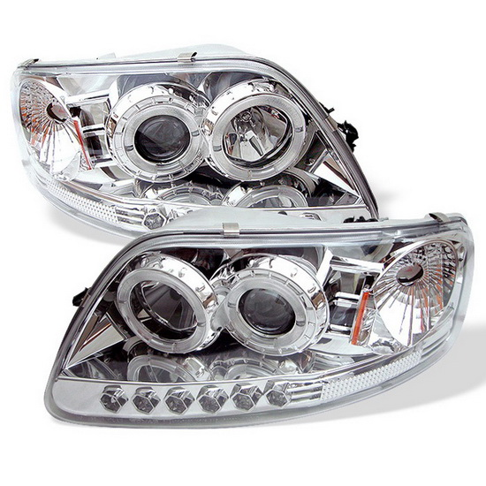 1997-2003 Ford F150 Expedition Chrome Housing LED Halo Angel Eyes LED 1PC Projector Headlights