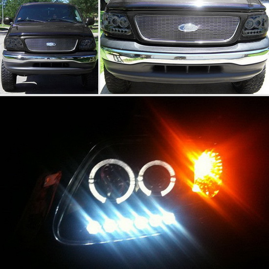 1997-2003 Ford F150 Expedition Smoke Housing LED Halo Angel Eyes LED 1PC Projector Headlights