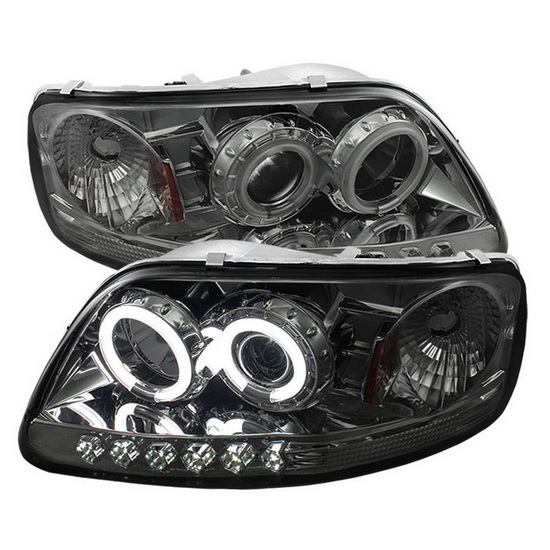 1997-2003 Ford F150 Expedition Smoke Housing CCFL Halo Angel Eyes LED 1PC Projector Headlights