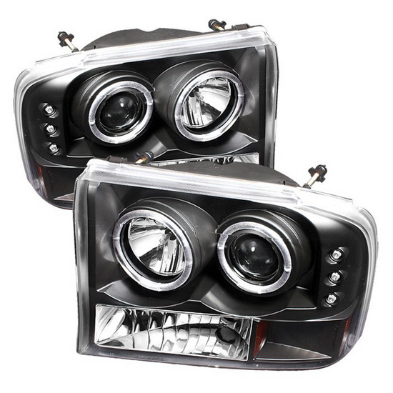 1999-2004 Ford F250 Super Duty V2-Upgraded LED Halo Angel Eyes Black Housing 1PC Projector Headlights