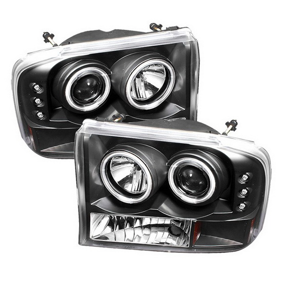1999-2004 Ford F250 Super Duty V2-Upgraded CCFL Halo Angel Eyes Black Housing 1PC Projector Headlights