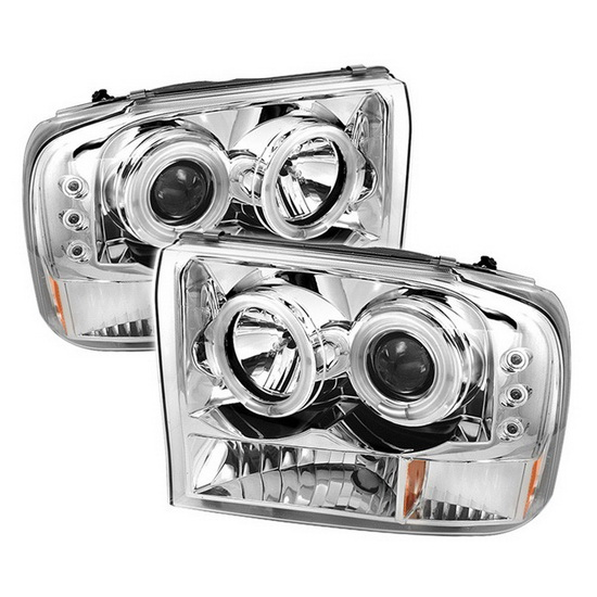 1999-2004 Ford F250 Super Duty V2-Upgraded CCFL Halo Angel Eyes Chrome Housing 1PC Projector Headlights