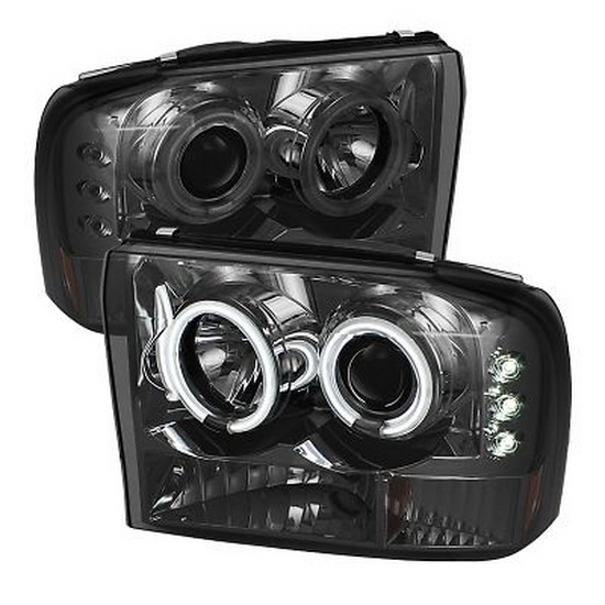 1999-2004 Ford F250 Super Duty V2-Upgraded CCFL Halo Angel Eyes Smoke Housing 1PC Projector Headlights