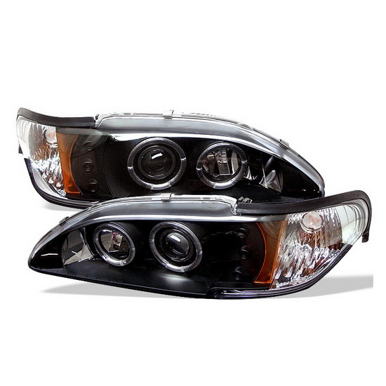 1994-1998 Ford Mustang Black Housing LED Halo Angel Eyes LED 1PC Projector Headlights with Amber Reflector