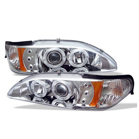 1994-1998 Ford Mustang Chrome Housing LED Halo Angel Eyes LED 1PC Projector Headlights with Amber Reflector