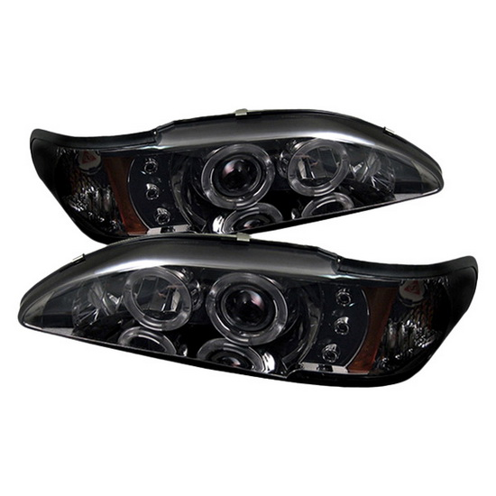 1994-1998 Ford Mustang Smoke Housing LED Halo Angel Eyes LED 1PC Projector Headlights with Amber Reflector