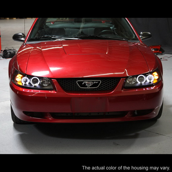 1999-2004 Ford Mustang Black Housing LED Halo Angel Eyes Projector Headlights