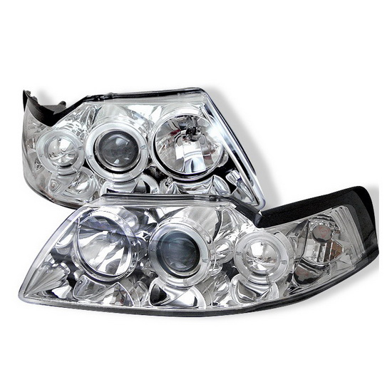 1999-2004 Ford Mustang Chrome Housing LED Halo Angel Eyes Projector Headlights
