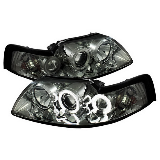1999-2004 Ford Mustang Smoke Housing CCFL Halo Angel Eyes Projector Headlights