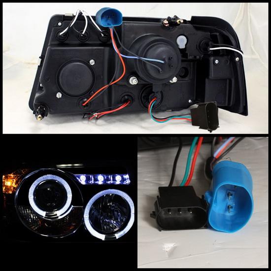 2001-2011 Ford Ranger Smoke Housing LED Halo Angel Eyes LED 1PC Projector Headlights