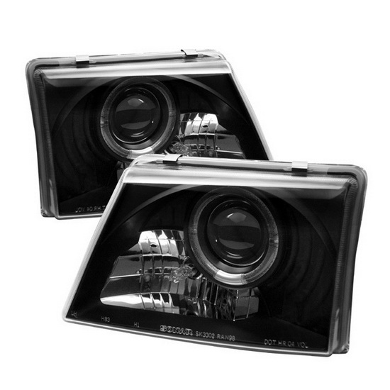 1998-2000 Ford Ranger Black Housing LED Halo Angel Eyes Projector Headlights