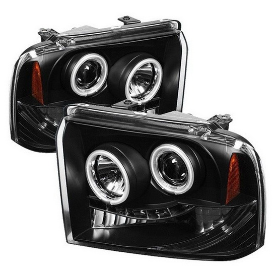 2005-2007 Ford F250 350 450 Super Duty Black Housing CCFL Halo Angel Eyes LED Projector Headlights