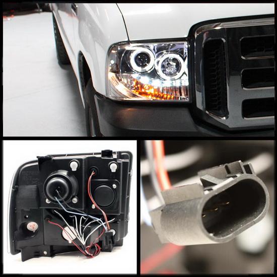 2005-2007 Ford F250 350 450 Super Duty Chrome Housing LED Halo Angel Eyes LED Projector Headlights