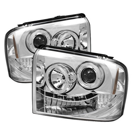 2005-2007 Ford F250 350 450 Super Duty Chrome Housing LED Halo Angel Eyes LED Projector Headlights