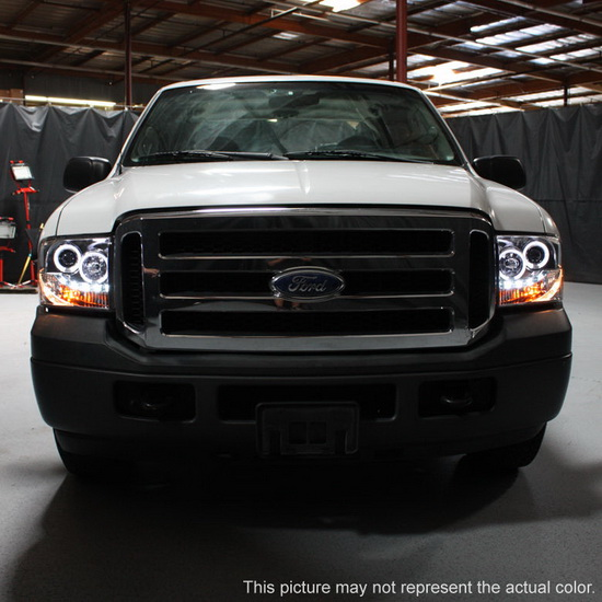 2005-2007 Ford F250 350 450 Super Duty Smoke Housing LED Halo Angel Eyes LED Projector Headlights