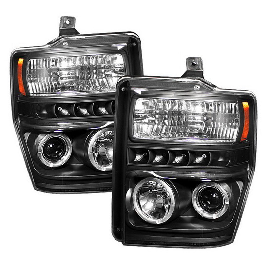 2008-2010 Ford F250 350 450 Super Duty Black Housing LED Halo Angel Eyes LED Projector Headlights