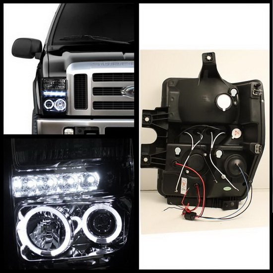 2008-2010 Ford F250 350 450 Super Duty Smoke Housing LED Halo Angel Eyes LED Projector Headlights