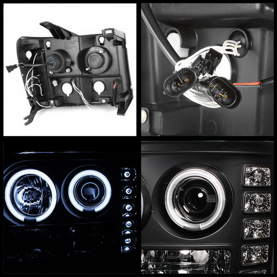 2007-2013 GMC Sierra 1500 2500 3500 Denali 2500HD 3500HD Black Housing CCFL Halo Angel Eyes LED Projector Headlights