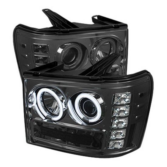 2007-2013 GMC Sierra 1500 2500 3500 Denali 2500HD 3500HD Smoke Housing CCFL Halo Angel Eyes LED Projector Headlights