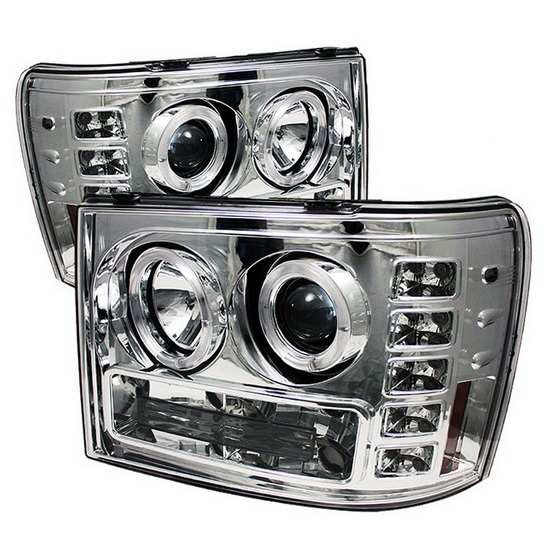 2007-2013 GMC Sierra 1500 2500 3500 Denali 2500HD 3500HD Chrome Housing LED Halo Angel Eyes LED Projector Headlights