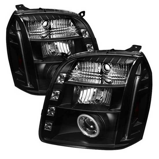 2007-2013 GMC Yukon Yukon Denali Yukon XL Black Housing CCFL Halo Angel Eyes LED Projector Headlights