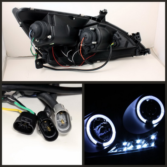 2003-2007 Honda Accord Black Housing LED Halo Angel Eyes LED Projector Headlights with Amber Reflector